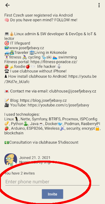 Screenshot clubhouse android invitation